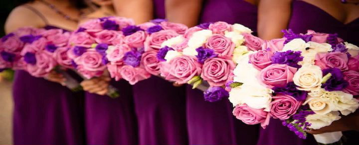 Wedding bridal bouquets weddingszone bmaids purple pink theme flowers mightylinksfo
